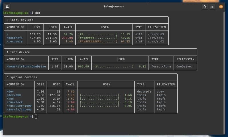 duf utility to analyze disk space