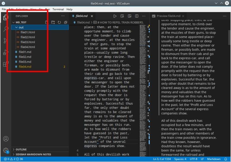 vscodium html filelist shown