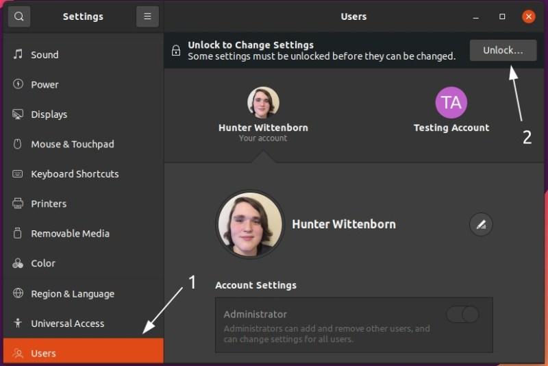 Unlock user settings Ubuntu